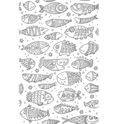 Seamless pattern with decorative fish vector image