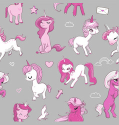 seamless pattern with pink unicorns vector image