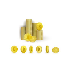 Set of bitcoin coins - rotating and put in stacks vector