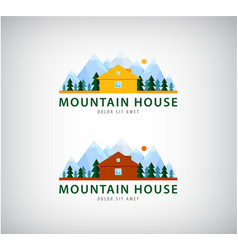 Set of mountain houses for holidays logos vector