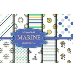 Set of sea and nautical seamless backgrounds vector image