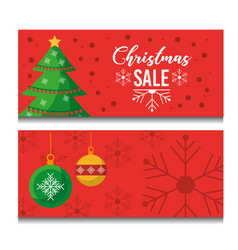 set of two beautiful horizontal christmas sale vector image