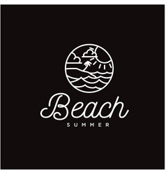 simple circular line art beach and sea logo vector image