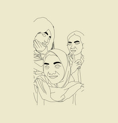 sketch family islamic vector image