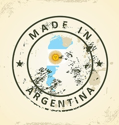 Stamp with map flag of argentina vector