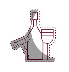 Sticker wine bottle and glass with corkscrew vector