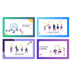 stressed hardworking business people in office vector image