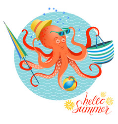 Summer poster of octopus vector