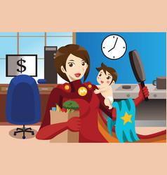 superhero mom concept vector image