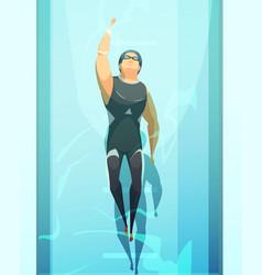 Swimmer retro cartoon composition vector