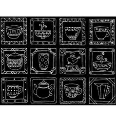 Tea cups and pots frame unique design EPS10 vector image