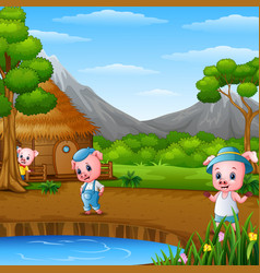 three little pigs are doing activity vector image