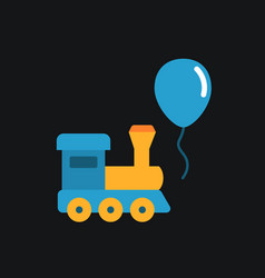 Train and balloon toy flat icon vector