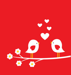 Two cute birds on blooming branch vector