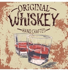 Two stemware of the whiskey with grunge effect vector