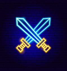 two swords neon sign vector image