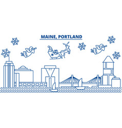 Usa maine portland winter city skyline merry vector
