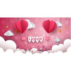 Valentine s day air balloon cloud vector