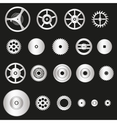 Various silver metal cogwheels parts of watch vector