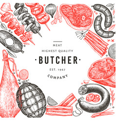 Vintage meat products design template hand drawn vector