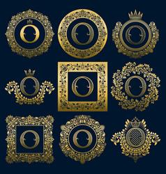 vintage monograms set of o letter vector image