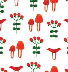 Watercolor seamless pattern with wild mushrooms vector