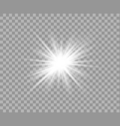 white luminous transparent light flash light vector image