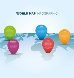 World map infographic with color pointers vector