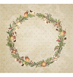 Decorative hand drawn wreath of flowers vector image