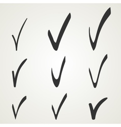 Different checkmark symbol Black confirm icons vector image