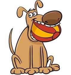 dog with ball cartoon vector image