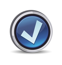 round button with tick sign vector image vector image