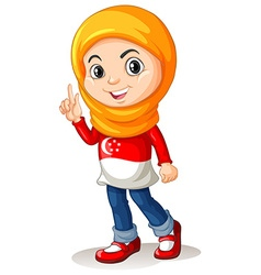 Singapore girl with head scarf vector image