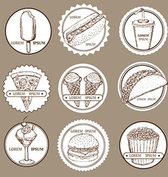Sketch set of fast food and ice cream logotypes vector image