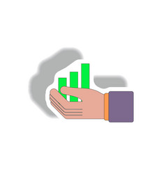 Bar graph and hand in paper vector