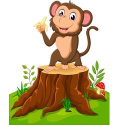 cartoon funny monkey holding banana on tree stump vector image vector image