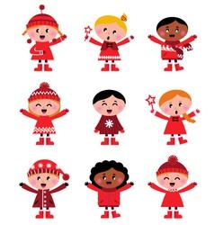 cute little christmas kids vector image