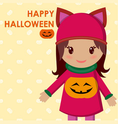 cute little girl on a holiday halloween and in a vector image