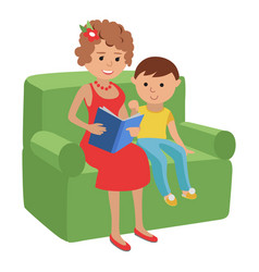 mother reading a book for son vector image