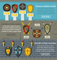 shield exhibits banner horizonatal set flat style vector image vector image