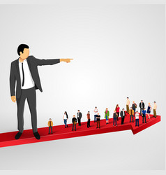 businessman sends the crowd ahead vector image
