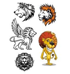 Cartoon and heraldic lion characters vector image