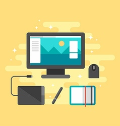 Flat Style Workplace for Graphic Designer Desktop vector image vector image