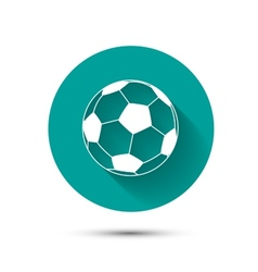 Football icon on green background with shadow vector image