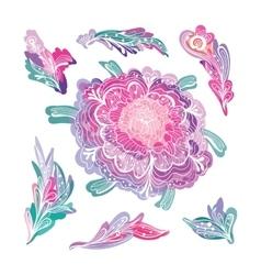 Romantic Floral Design Elements Set vector image vector image