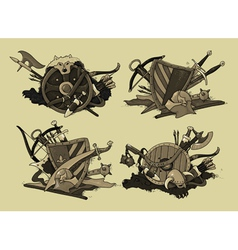set of shields medieval vector image vector image