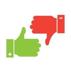 thumb up and thumb down icons vector image vector image