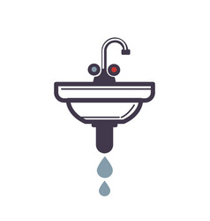 Washbasin with pipe spraying water icon on white vector
