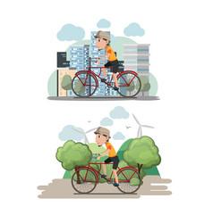 bicycle man ride city eco vector image vector image
