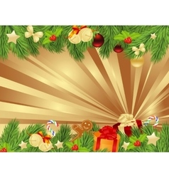 christmas fir frame vector image